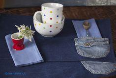 Tischsets aus Jeans / set de table jean / placemat jeans