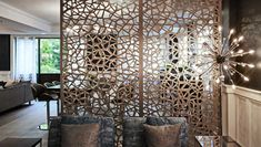 Decorative screen room divider, double layer BRONZE/GOLD aluminum composite panels, floor to ceiling partition. Freestanding Room Divider, Small Room Divider, Room Divider Screen, Room Divider Bookcase, Room Partition Wall, Partition Screen, Partition Design, Decorative Room Dividers, Wooden Room Dividers