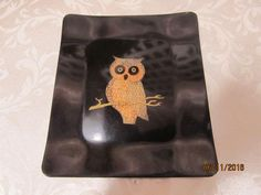 """Vintage Couroc Monterey California Wood Inlay Owl Square Plate Small Tray Dish 7"""" x 6"""" by EvenTheKitchenSinkOH on Etsy"""