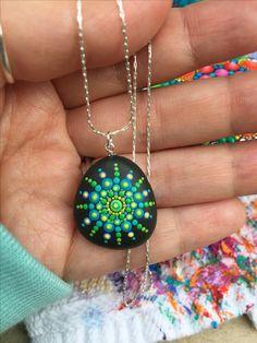Hand painted mandala pendant. Necklace. Wearable art. Dot Art. Painted stone.