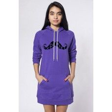 Hoodie Dress with Mustache Design