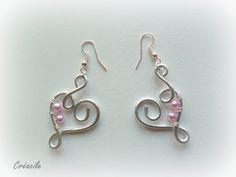 Boucles d'oreilles coeur aluminium gris argenté et par Creacile