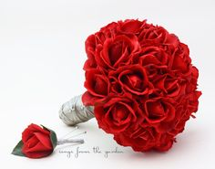 This keepsake custom silk flower bridal bouquet of red roses can be yours to have and to hold on your wedding day! I can customize for your color scheme or create it for you as shown. We can work toge
