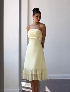(FITS003139)A-line Strapless Belt Knee-length Chiffon Bridesmaid Dress / Cocktail Dress / Homecoming Dress