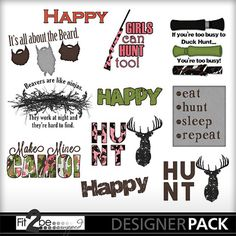 Enjoy these high quality designs by #Fit2beScrapped @MyMemoreis.com #DIgital #Creative #scrapbook #Craft #Duck Season Word Art Pack