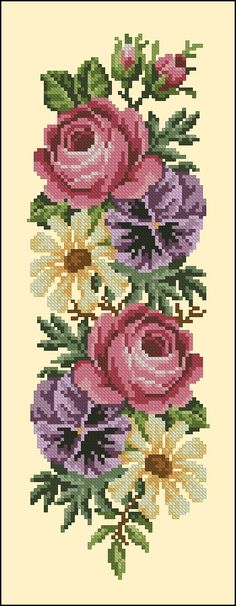 "Photo from album ""Ретро-цветы"" on Yandex. Easy Cross Stitch Patterns, Simple Cross Stitch, Cross Stitch Rose, Cross Stitch Borders, Embroidery Patterns Free, Bead Loom Patterns, Cross Stitch Flowers, Cross Stitch Charts, Cross Stitch Designs"