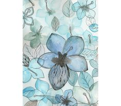 Original watercolor abstract flower illustration by MilkFoam, $30.00