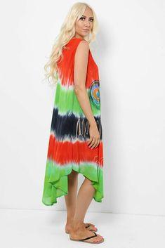 Tie Dye Sleeveless Midi Dress Asymmetric Boho Hippie Festival Beach Red Green UK #Unbranded #KaftanBeachDress #Casual Hippie Dresses, Boho Dress, Hippie Festival, Boho Hippie, Kaftan, Red Green, Tie Dye Skirt, Beachwear, Summer Dresses