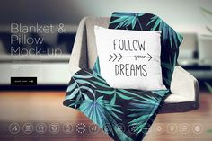 Blanket & Pillow On Chair Mockup by dennysmockups on @creativemarket