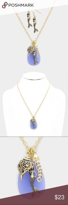 "Mermaid Charm Necklace Set • Theme : Mermaid, Sea Life  • Necklace Size : 19"" + 3"" L • Pendant Size : 2"" X 2"" • Metal mermaid pendant necklace Jewelry Necklaces"