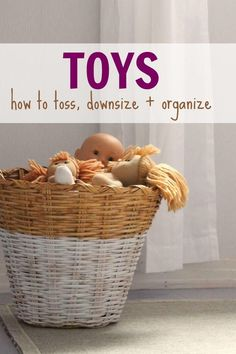 Tips and tricks on how to toss, downsize, and organize the toys in your home. Moms of little children who want less clutter and toys should read. If you want some toy decluttering tips or toy organization tips, this will help.