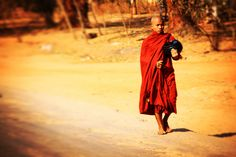 A buddhist Monk on his morning donation tour. Buddhist Monk, Most Favorite, Countries Of The World, Travel Inspiration, Tours, Country, Travel, World Countries, Rural Area