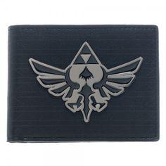 Zelda Black Metal Badge Bi-Fold Wallet