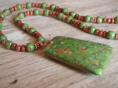Green Mosaic Turquoise, Copper, Wood, and Goldstone Shell Necklace by MountainSkyJewelry on Etsy
