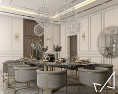 Dining room with Neo-classic style on Behance Classic Dining Room, Elegant Dining Room, Luxury Dining Room, Dining Room Design, Classic Interior, Luxury Interior Design, Dining Table In Kitchen, Kitchen Decor, Elegant Kitchens