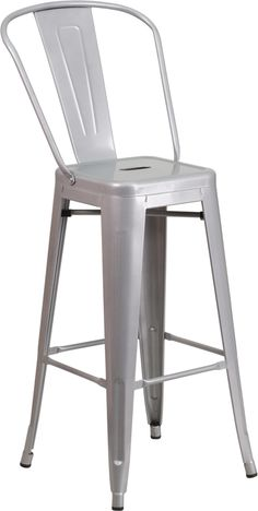 Bistro Style Barstool, Curved Back with Vertical Slat, Drain Hole in Seat, Silver Powder Coat Finish, Galvanized Steel Construction, Cross Brace under seat provides extra stability, Footrest, Protective Rubber Floor Glides, Lightweight Design, Designed for Indoor and Outdoor Use, Designed for Commercial and Residential Use
