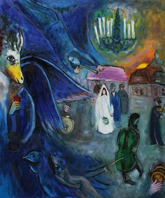 'The Wedding Candles,' - Surrealistic oil painting by Marc Chagall completed  in 1945.  122 x 120 cm. After after his wife Bella died in September 1944 , sadness haunted him for several years.