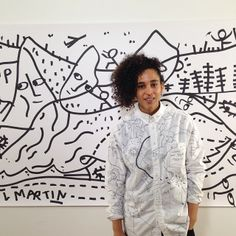 """Shantell Martin in front of her piece at Wataah as part of their traveling art exhibition in partnership with Michelle Obama's """"Drink Up"""" campaign Tomboy Street Style, Tomboy Fashion, Michelle Obama, Androgynous, Fashion Inspiration, Campaign, Traveling, Menswear, Drink"""