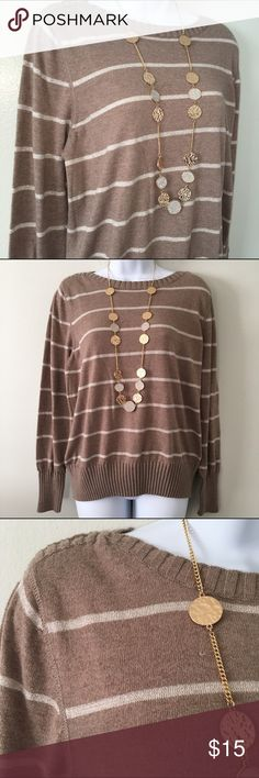 "Champagne Sparkle Striped Sweater Only worn a few times, so it's in excellent shape. Tan with sparkly champagne-colored stripes. 24"" long/40"" waist. Bundle to save! Sonoma Sweaters"