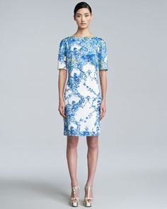 Erdem Bethany Printed Short-Sleeve Dress in April Fashion 2013 from Neiman Marcus on shop.CatalogSpree.com, my personal digital mall.