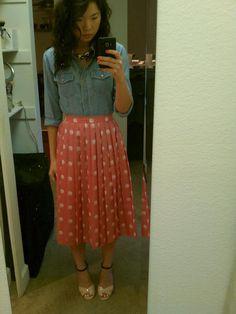 midi pleated polka dot skirt + chambray