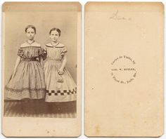 CIVIL WAR ERA SISTERS IN BEAUTIFUL DRESSES BATH, ME, ANTIQUE CDV in Collectibles, Photographic Images, Vintage & Antique (Pre-1940) | eBay