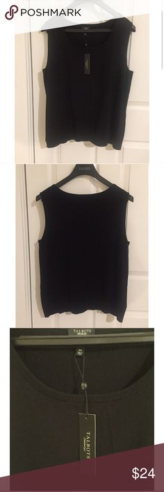 ☀️NWT Talbots Sleeveless Plus Size Sweater Top Talbots Black Sleeveless Sweater Top Blouse, Plus Size 2X, New With Tags Talbots Tops Blouses