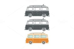 Set of retro travel camper vans. by Aleksandrs on @creativemarket