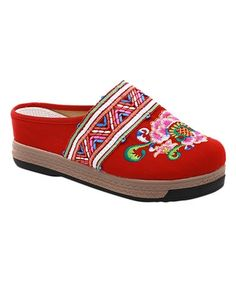 Look what I found on #zulily! Red Floral & Geometric Embroidered Mule - Women #zulilyfinds