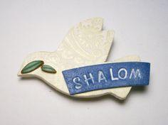 Shalom Pin Peace Dove Jewish Jewelry Handmade by SweetchildJewelry, $15.00