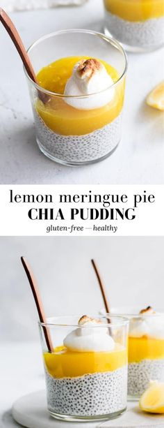 This Lemon Meringue Pie Chia Pudding has all the flavours you love - creamy chia pudding topped with a tangy lemon curd and a sweet, fluffy meringue for a delicious treat! #glutenfree #lemonmeringuepie #chiapudding