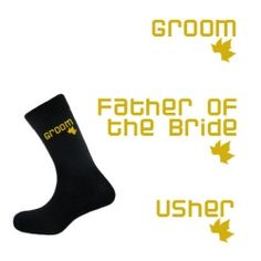 £2.50 available in orange/yellow or gold text Black Autumn Leaf Socks - Groom, Best Man, Usher, etc..