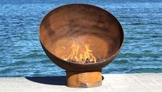 The Meridian 37 inch Modern Steel Firebowl by johntunger on Etsy