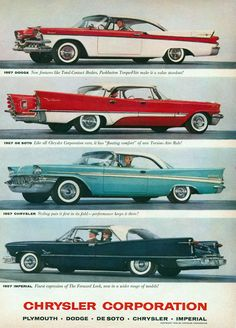 size: Stretched Canvas Print: Chrysler 1957 Models : Using advanced technology, we print the image directly onto canvas, stretch it onto support bars, and finish it with hand-painted edges and a protective coating. Chrysler Dodge Jeep, Chrysler Cars, Chrysler Models, Mopar, 50s Cars, Retro Cars, Motos Retro, Michigan, Bmw Classic Cars