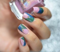 Simple pink/blue/green colour block mani