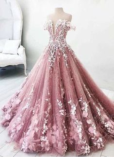 Customized Substantial Pink Wedding Dress, Long Prom Dresses, Lace Prom Dresses, Unique Wedding Dress - Gowns - Dresses for Wedding Puffy Prom Dresses, Quince Dresses, Ball Gowns Prom, Ball Dresses, Dress Prom, Quinceanera Dresses Blush, Lavender Prom Dresses, Dresses For Balls, Pink Ball Gowns