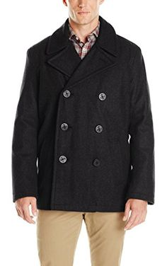 Tommy Hilfiger Men's Wool Melton Classic Peacoat, Black, X-Large ❤ Tommy Hilfiger Men's Outerwear