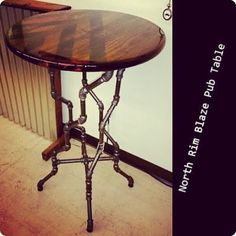 Email if interested: NDustrialDesign@outlook.com. North Rim Blaze Pub Table - $250. Black #steel #pipe twisted legs. #industrialchic #NDustrialDesign #steampunk #urban #mancave #handmade https://www.facebook.com/NDustrialDesign