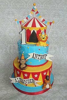 Circus first birthday cake - Circus First birthday cake, with big top tier…