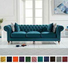 New Modern Chesterfield Sofa, Teal Linen Plush Velvet, 3 Seater Settee Couch Seater Sofa, Furniture, Best Leather Sofa, Sofa Design, Sofa, Blue Sofa Chair, Sofa Deals, Sofa Material, Chesterfield Sofa