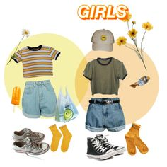 GIRLS by stayevildollface on Polyvore featuring Topshop, Converse, Retrò and Disney