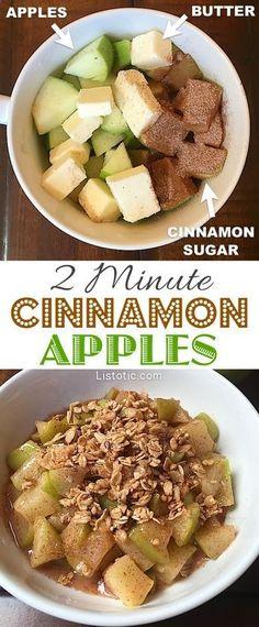 Super easy and quick cinnamon apple dessert! Top with vanilla ice cream or granola. YUMhttp://www.listotic.com/2-minute-microwave-cinnamon-apple-dessert/