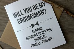 Will you Be my Groomsman Card Funny Will you Be by PattersonPaper Wedding Gifts For Bride And Groom, Wedding Favors, Our Wedding, Dream Wedding, Geek Wedding, Groomsmen Proposal, Bridesmaids And Groomsmen, Be My Groomsman, Groomsman Gifts