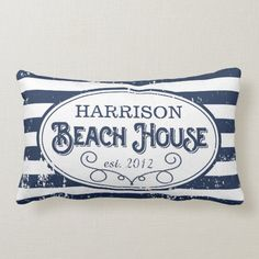 Vintage Beach House Personalized Navy and White Lumbar Pillow Affiliate Beach House Furniture, White Throw Pillows, Accent Pillows, Beach Cottage Decor, Beach Cottages, Beach Houses, Custom Pillows, Decorative Pillows, Porch Decorating