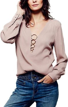 the blouse is featuring deep v neck, pullover styling, hoop decoration, long sleeve and solid color. Look Fashion, Fashion Outfits, Womens Fashion, Fashion Design, Mode Top, Moda Chic, Beautiful Blouses, Personalized T Shirts, Blouse Styles