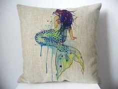 "Cotton Linen Square Decor Throw Pillow Case Cushion Cover Watercolor Mermaid 18"""