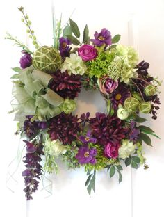 Deep Purple and Green Grapevine Fall or by HungUpOnWreaths on Etsy, $129.00