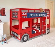 The London Bus Bunk Bed from Julian Bowen makes bedtime fun. Kids will love 'getting on the bus' and will feel magically transported to their dreams. London Bus, Deco London, Cool Bunk Beds, Kids Bunk Beds, Kids Car Bed, Baby Bedroom, Kids Bedroom, Bedroom Ideas, Childrens Beds