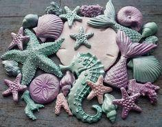 Edible sugar paste fondant shells starfish large seahorse