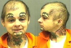 Double Fake Eyebrows All the Way Across the Face - Funny WTF Pictures gathered from the farthest corners of the internet for the sole purpose of making you laugh. Bad Face Tattoos, Worst Tattoos, Facial Tattoos, Crazy Tattoos, Strange Tattoos, Terrible Tattoos, Funny Mugshots, Fake Eyebrows, Que Horror